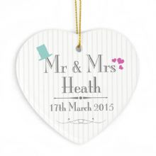 Decorative Wedding Mr & Mrs Ceramic Heart